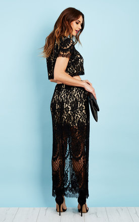 Black Lace Maxi Skirt by Glamorous