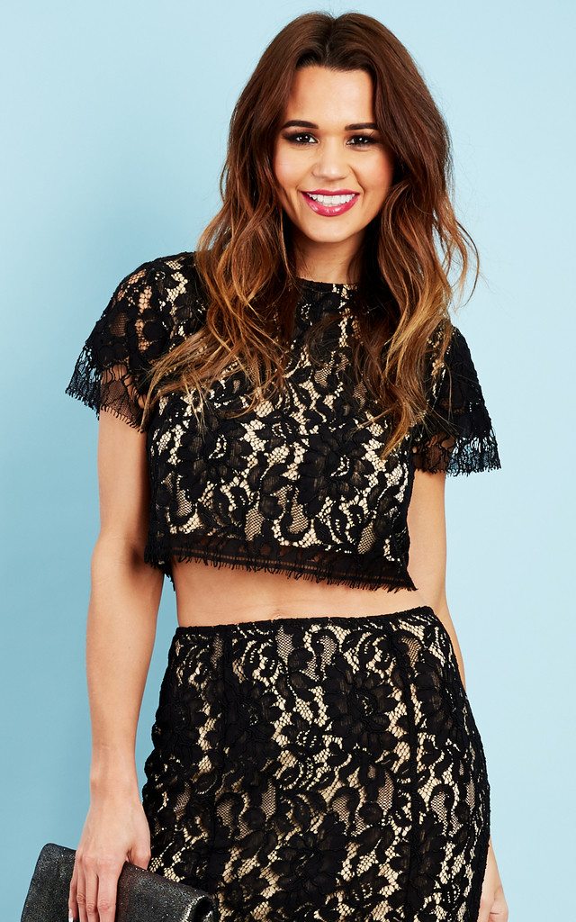 Nude and Black Cropped Lace Top by Glamorous