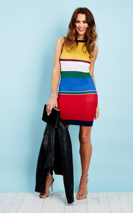 Multi Coloured Stripe Knitted Mesh Dress by Glamorous