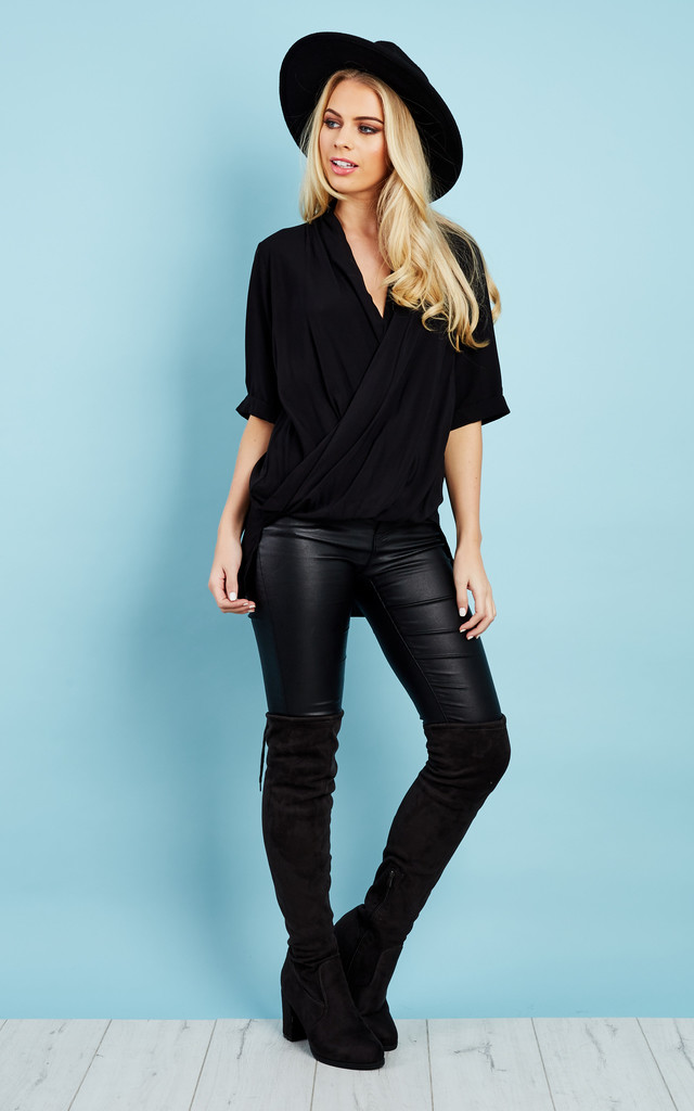 Black Wrap Dipped Hem Top by Glamorous
