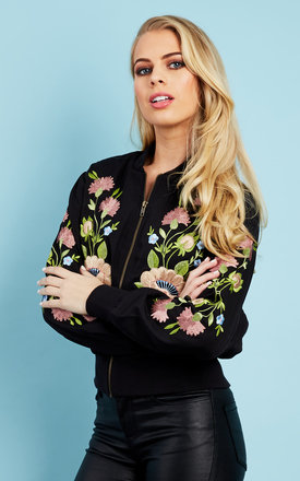 Black embroidered floral bomber jacket by Glamorous