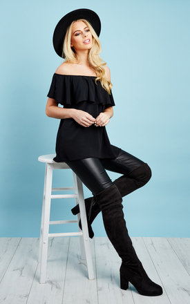 Off The Shoulder Frill Black Top by John Zack