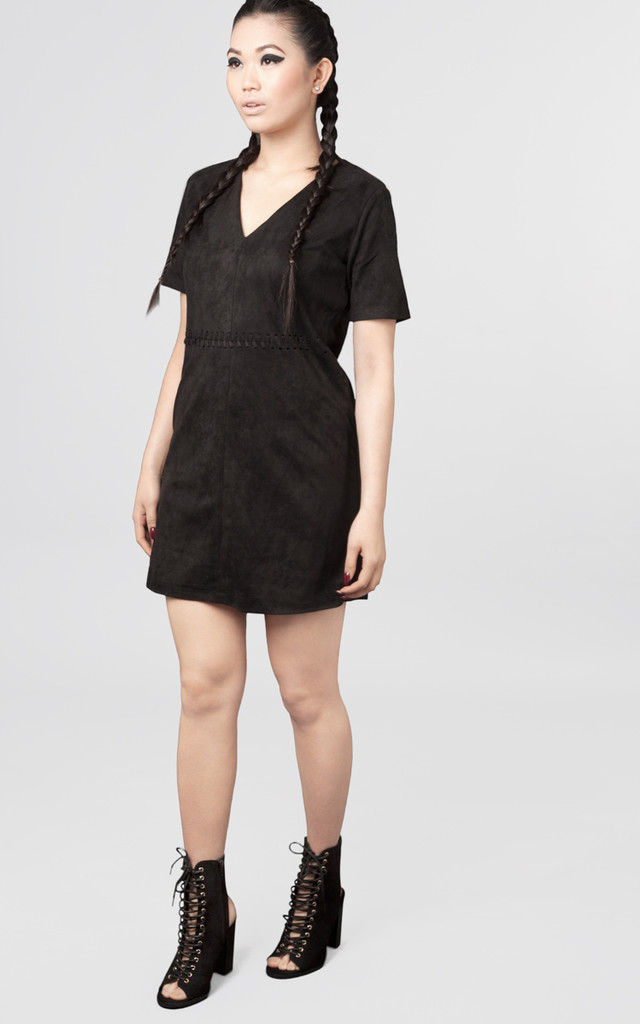 Suede V Neck Lace Up Dress by Moth Clothing