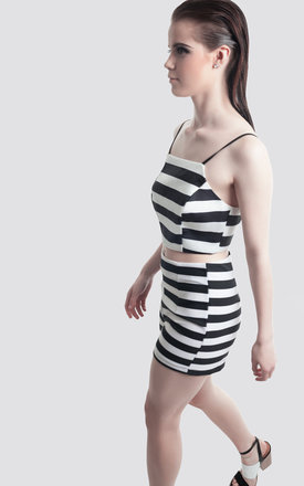 Black & White Stripe crop  top by Moth Clothing