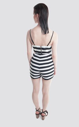 Black & White Stripe High Waisted Shorts by Moth Clothing