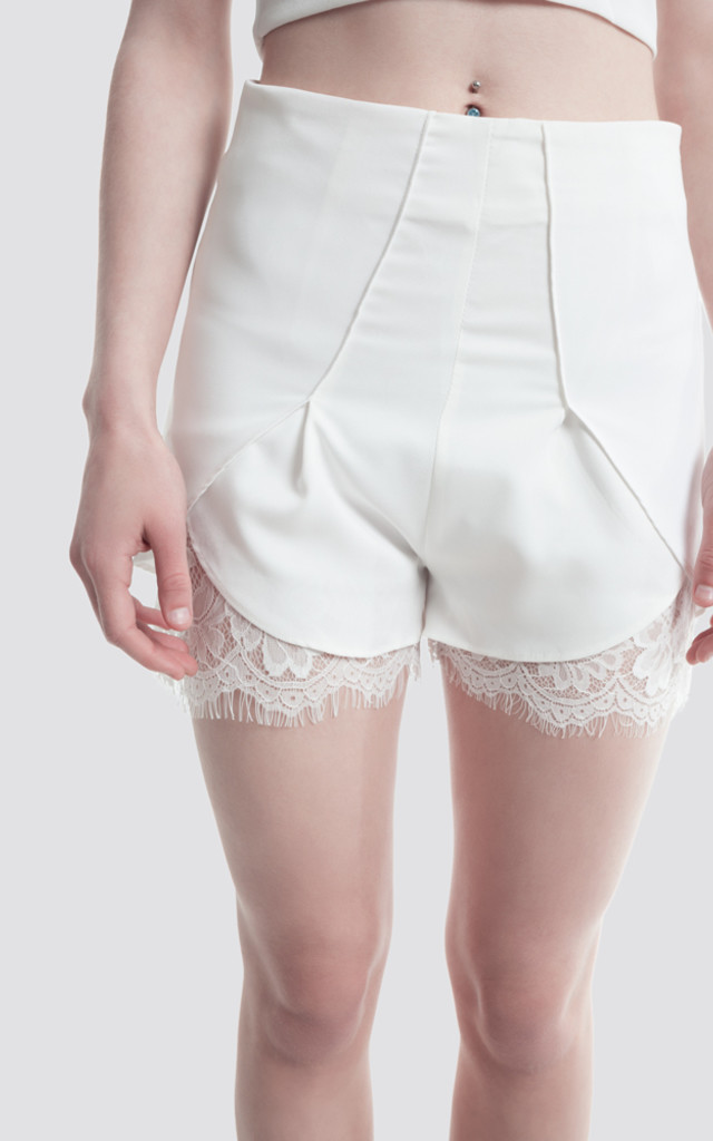 White High Waisted Tailored Shorts With Lace Trim by Moth Clothing
