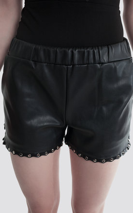 PU Leather Stud Detail Runner Shorts by Moth Clothing