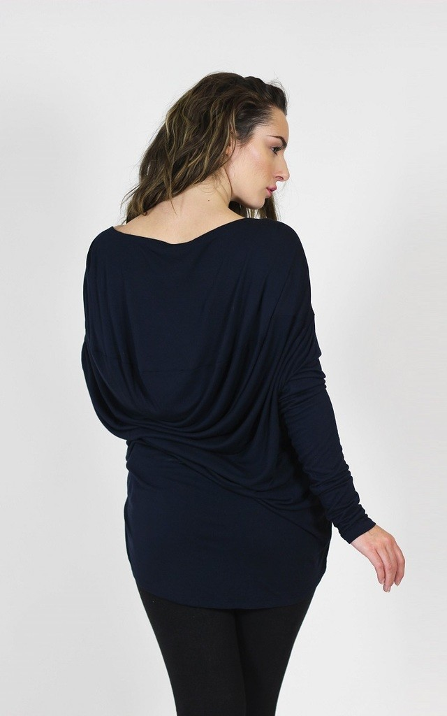 Milly Slouchy Drape Back Top in Dark Navy Blue by LagenLuxe