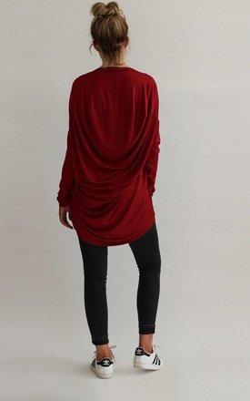 Milly Slouchy Drape Back Top in Red by LagenLuxe