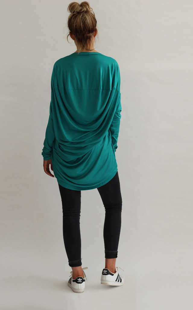 Milly Slouchy Drape Back Top in Green by LagenLuxe