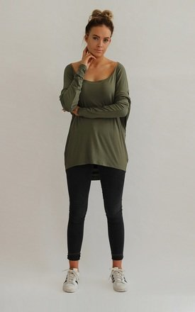 Milly Slouchy Drape Back Top in Khaki by LagenLuxe