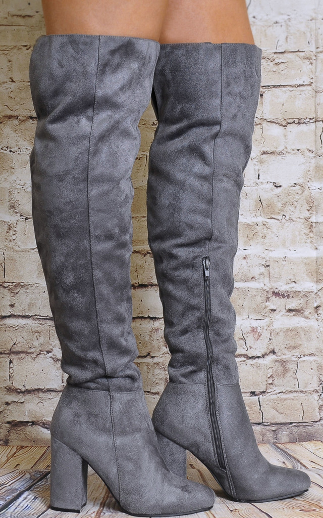Grey Faux Suede Over the Knee Boots High Heels by Shoe Closet