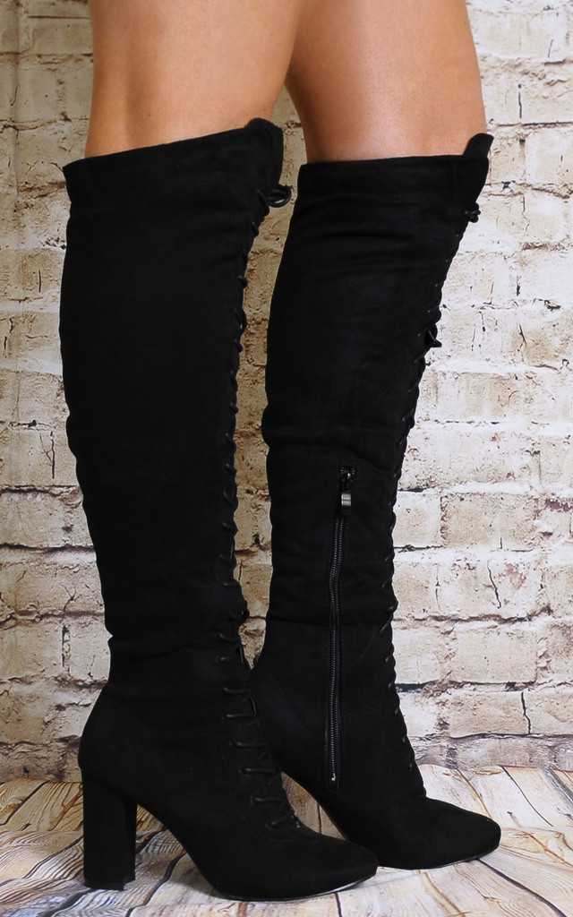 Black Over the Knee Lace Ups Boots High Heels by Shoe Closet