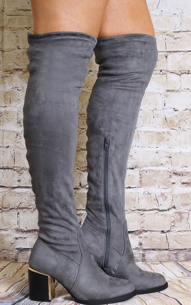 Grey Stretchy Over The Knee Boots with Block Heels by Shoe Closet