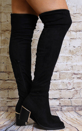 Black Faux Suede Over The Knee Stretch High Heels Boots by Shoe Closet