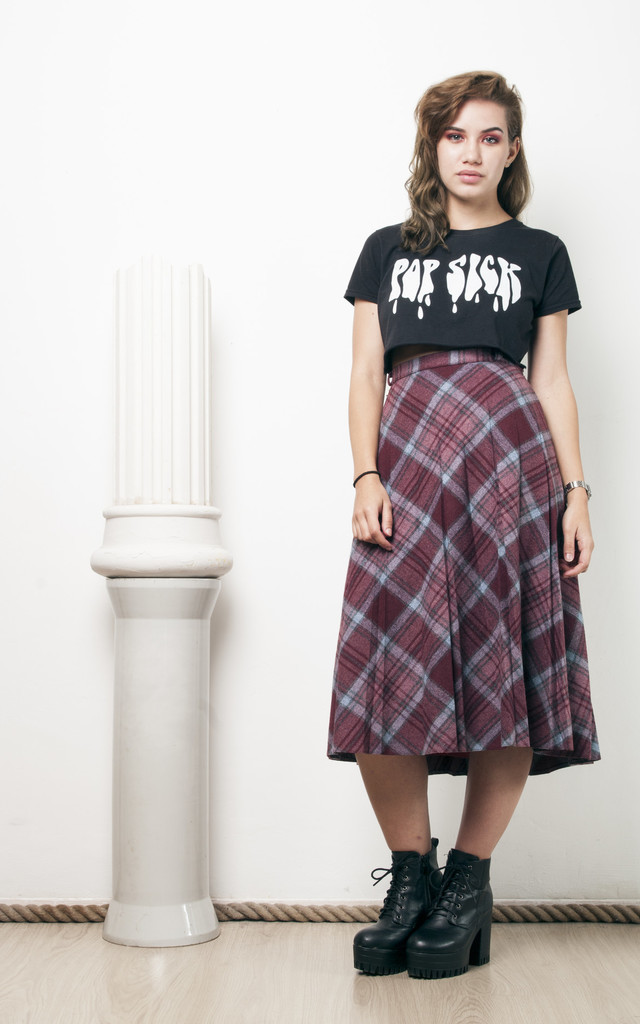 70s vintage pleated plaid midi skirt by Pop Sick Vintage