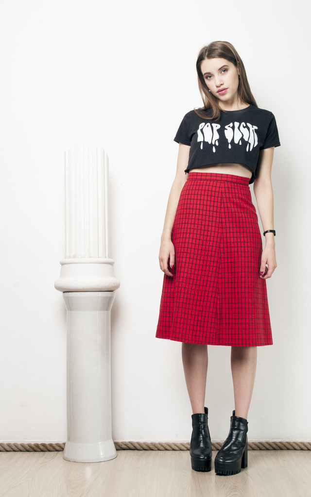 70s vintage grid midi skirt by Pop Sick Vintage