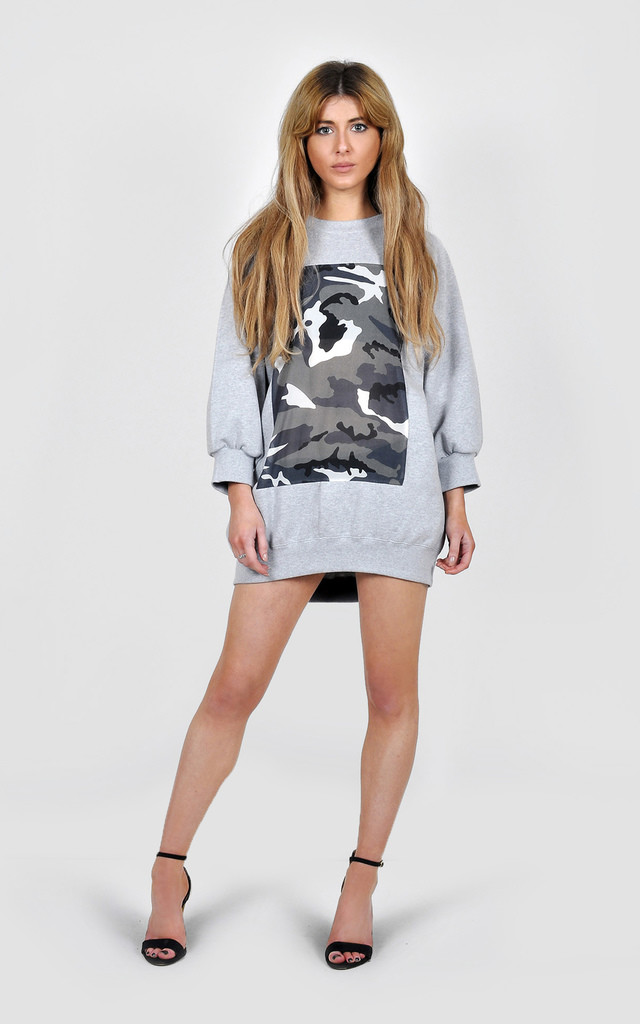 Oversized Camo insert jumper/dress by The Left Bank