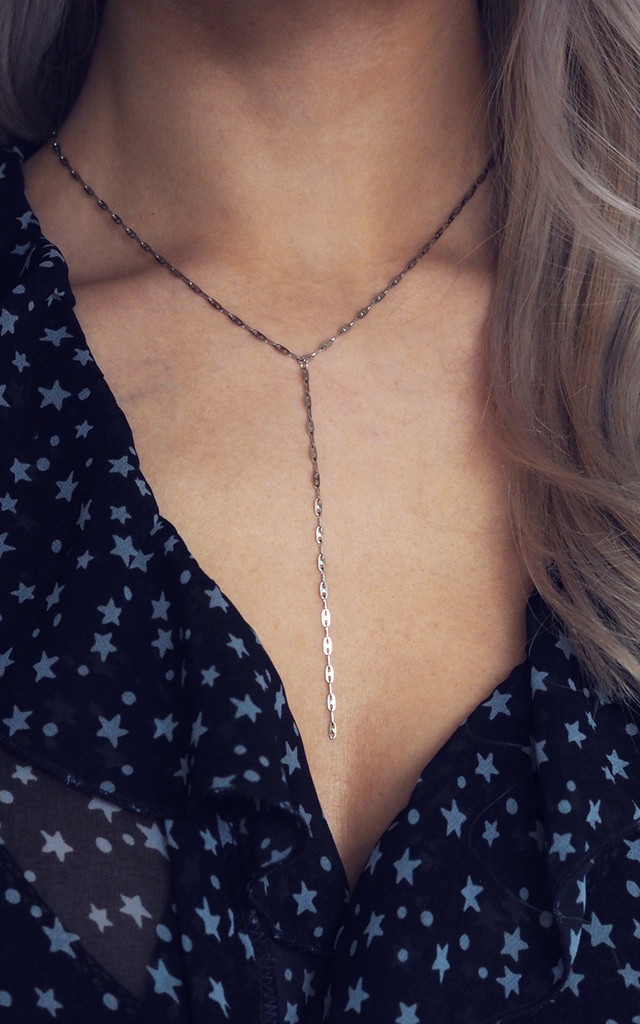 DALA. Silver Fancy Chain Lariat Necklace by Aluna Mae
