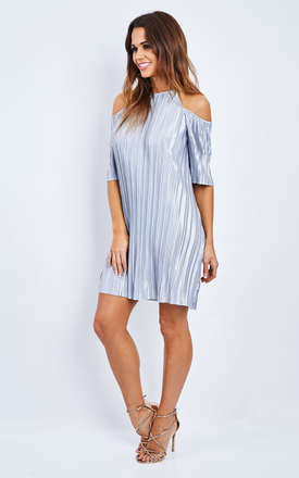 CUT OUT SHOULDER SILVER DRESS by Glamorous