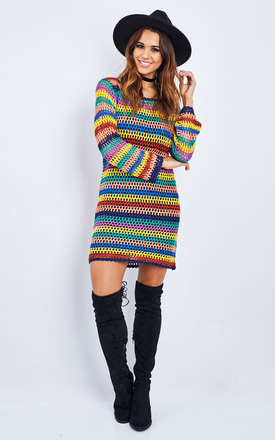Rainbow Long Sleeve Crochet Dress by Glamorous Product photo