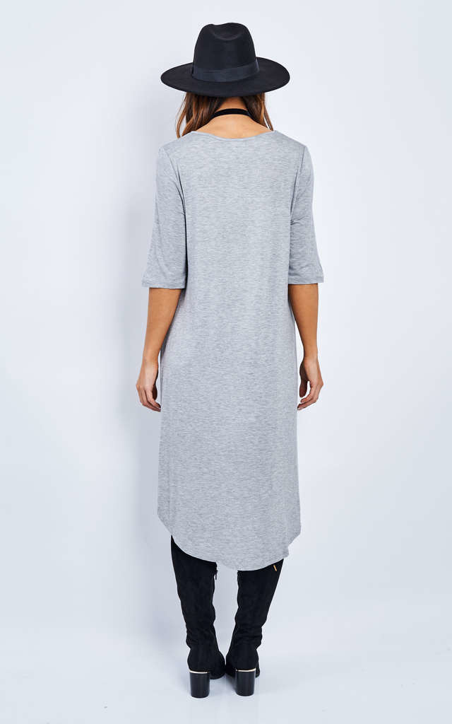 Grey Dipped Hem 3/4 Sleeve Top by Glamorous