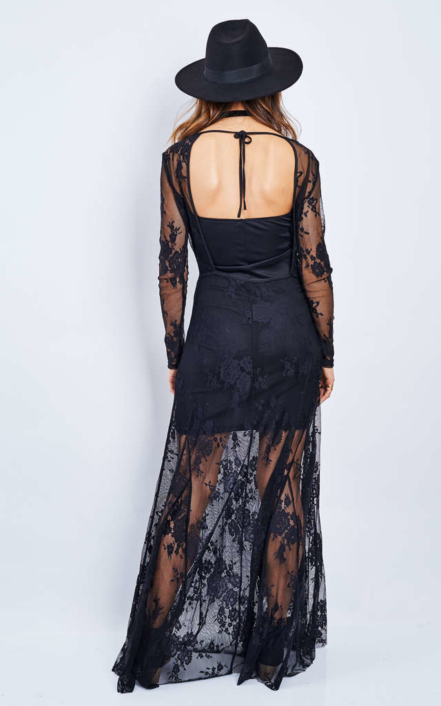 Black Lace Long Sleeve Maxi Dress by Glamorous