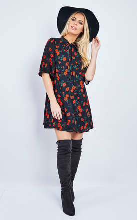 Black and Red Spanish Floral Tie Front Dress by Glamorous