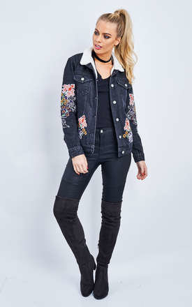 BLACK WASH EMBROIDERED LONG SLEEVE JACKET by Glamorous