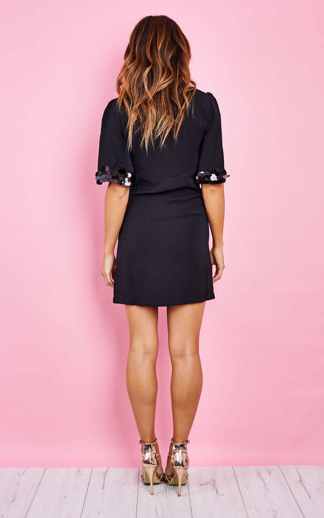 Black Sequin Sleeve Dress by Bella and Blue