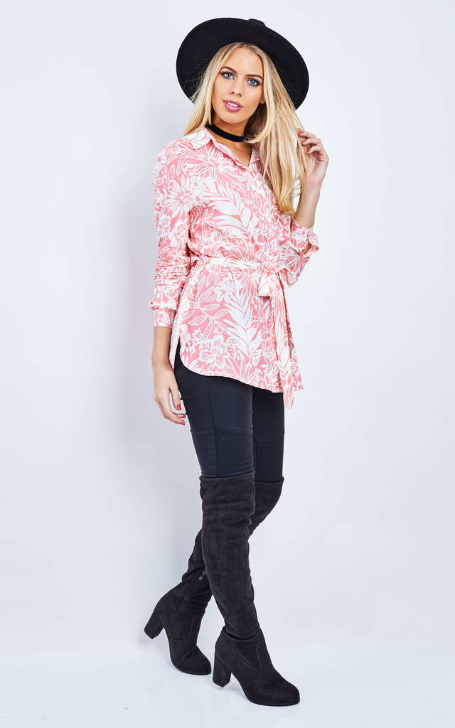 Pink Hawaiian Floral Shirt With Tie by Bella and Blue
