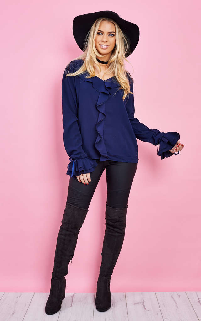 Navy Ruffle Blouse by Lilah Rose