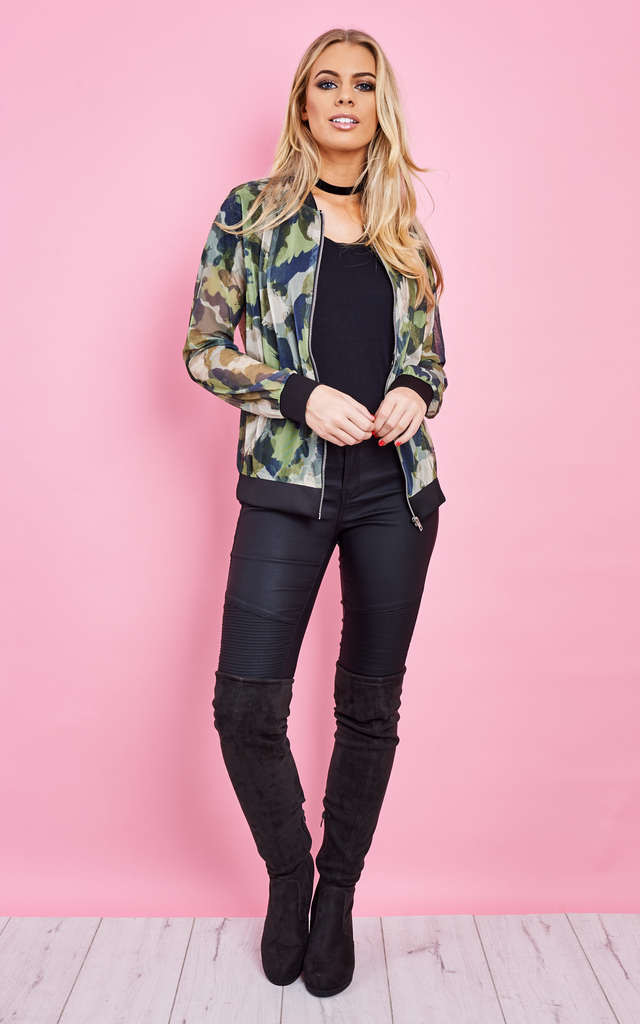 Mesh Green Camo Zip Bomber Jacket by Lilah Rose
