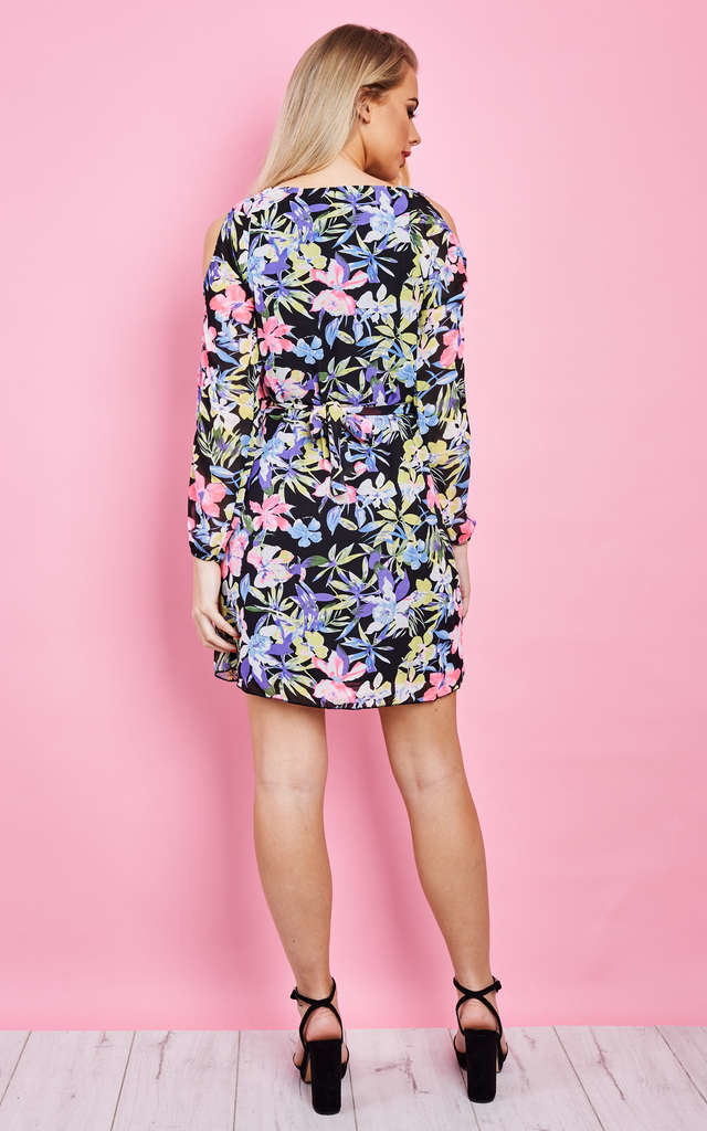 Cut Sleeve Floral Belted Dress Multi Floral by Lilah Rose
