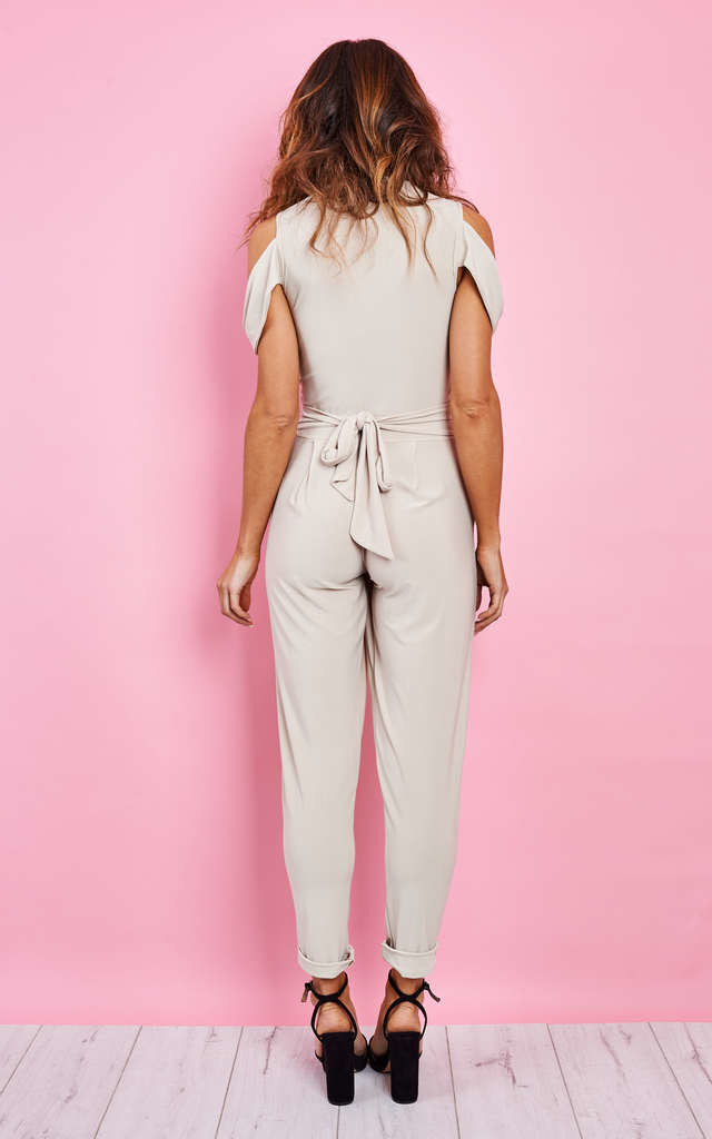 BEIGE COLD SHOULDER JUMPSUIT by John Zack