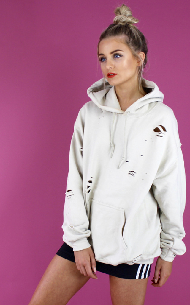 DISTRESSED DESERT HOODIE- NUDE by Cats got the Cream