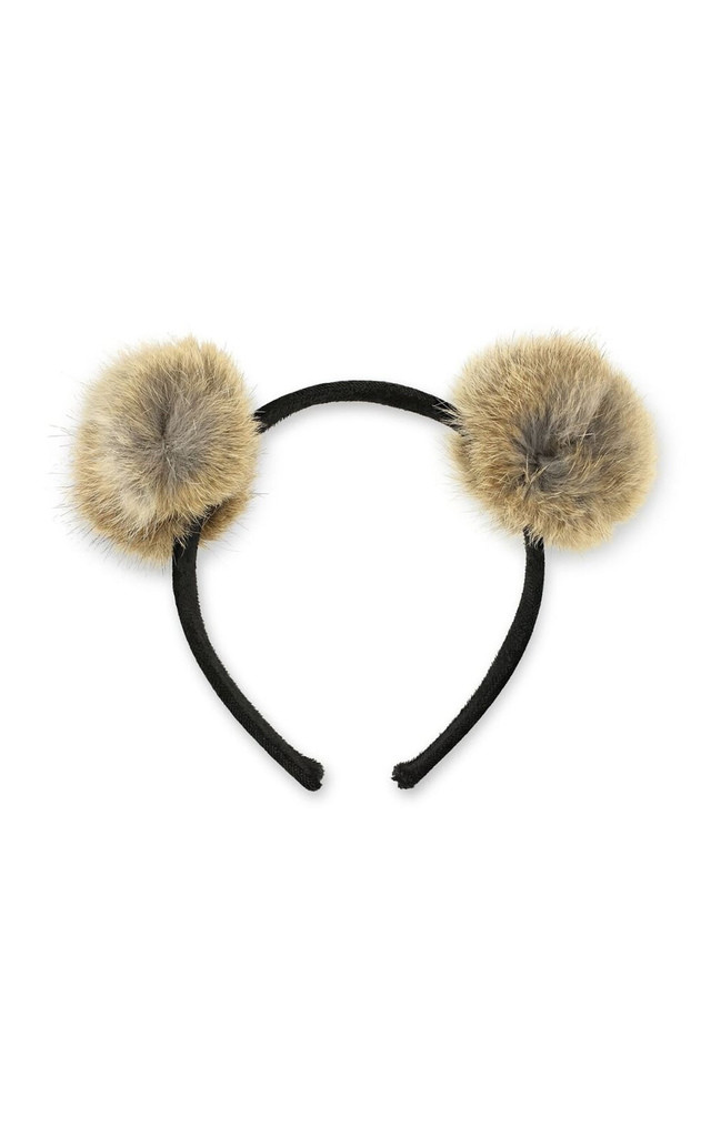 Brown Faux Fur Pom Pom Headband by Johnny Loves Rosie