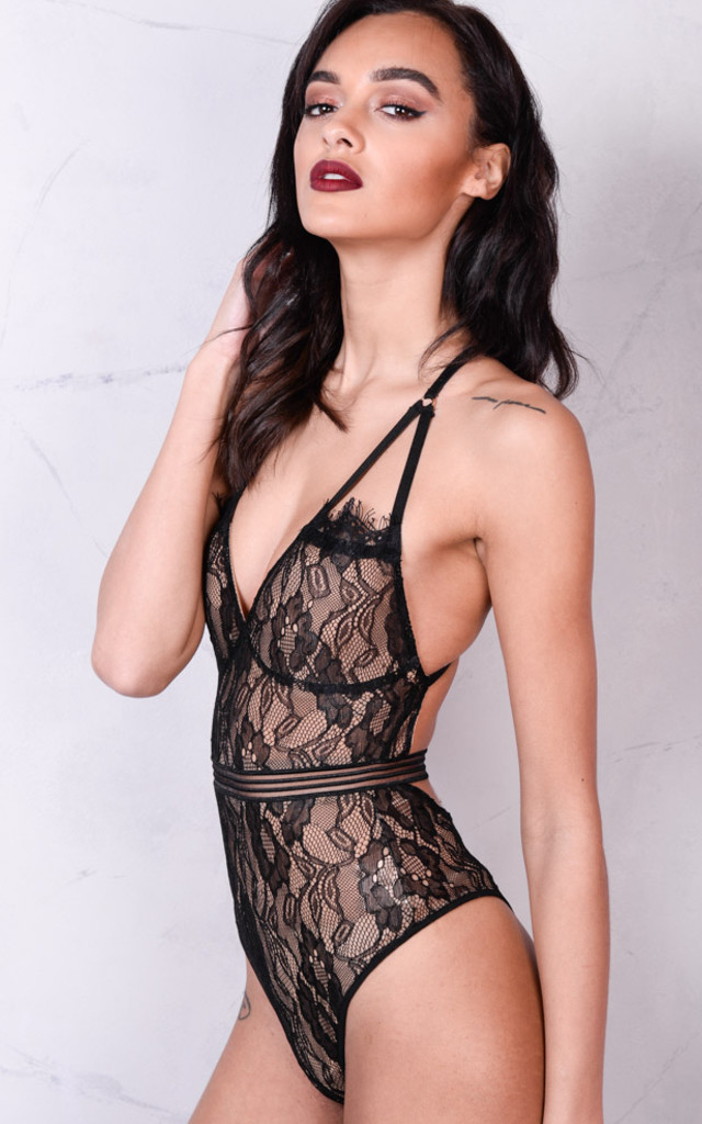 Lace Backless Nude Mesh Bodysuit Black by LILY LULU FASHION