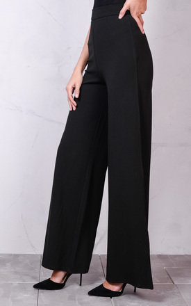 High Waisted Wide Leg Palazzo Trousers Black by LILY LULU FASHION