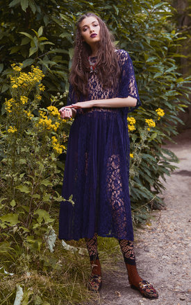 Stevie Sheer Lace Navy Shift Dress by ILK+ERNIE