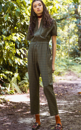 Vreeland Green Tartan Zipup Short Sleeve Jumpsuit by ILK+ERNIE