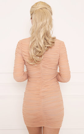 NAIYA Nude Ruched Bodycon Dress by LullaBellz