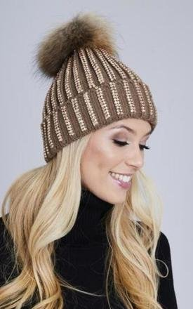 Diamante Detectable Pom Pom Hat - Mocha by AJ | VOYAGE