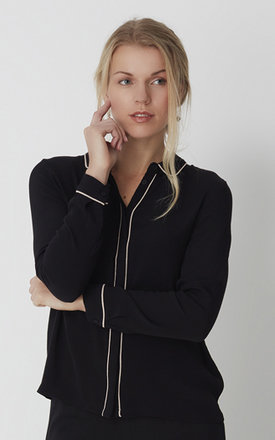 Light weight black shirt with piping details by No Ordinary Suit