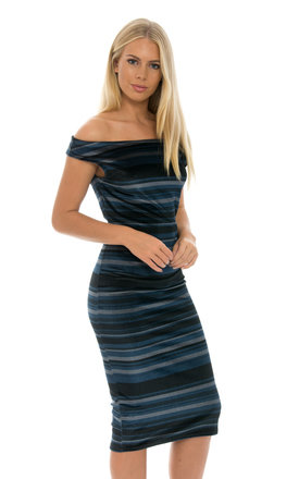Crushed Velvet Bodycon Dress -Stripe by Npire London