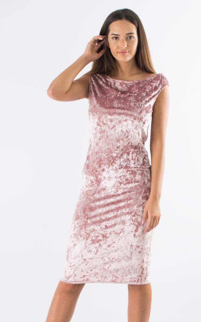 Crushed Velvet Off Shoulder Midi Dress- Pink by Npire London