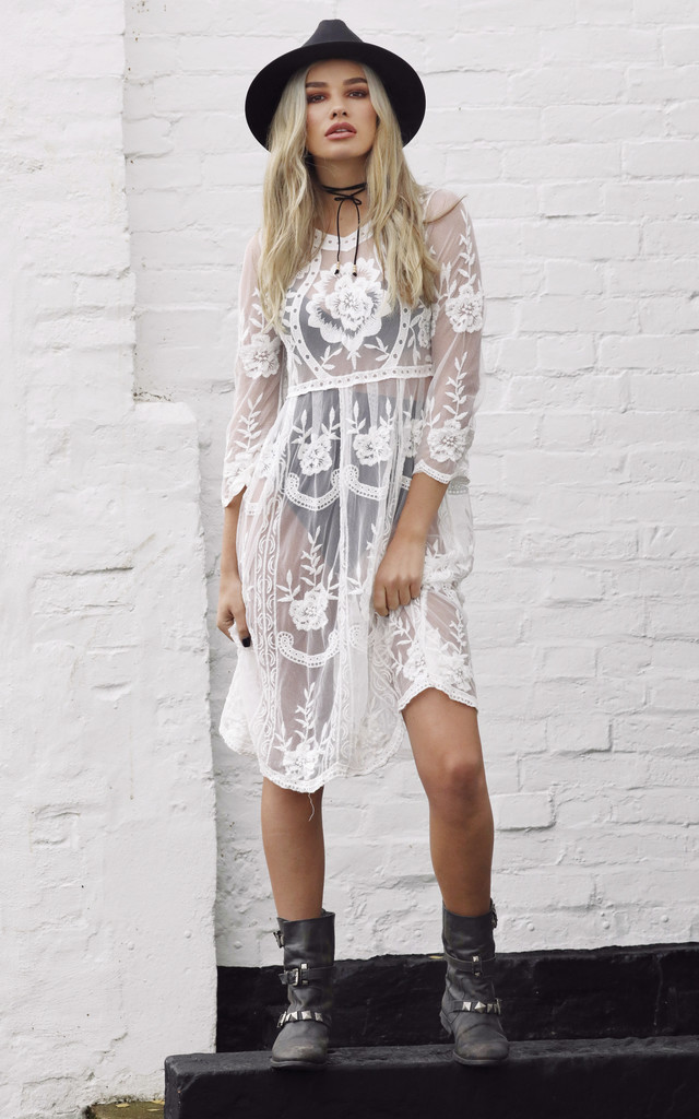White Lies Embroidered Dress by Wired Angel