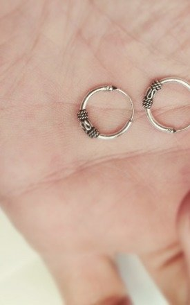 Heroine 12mm Sterling Silver Tibetan Hoops by Wanderdusk