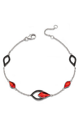 Flame Red & Black Drop Sterling Silver Bracelet by VAVOO