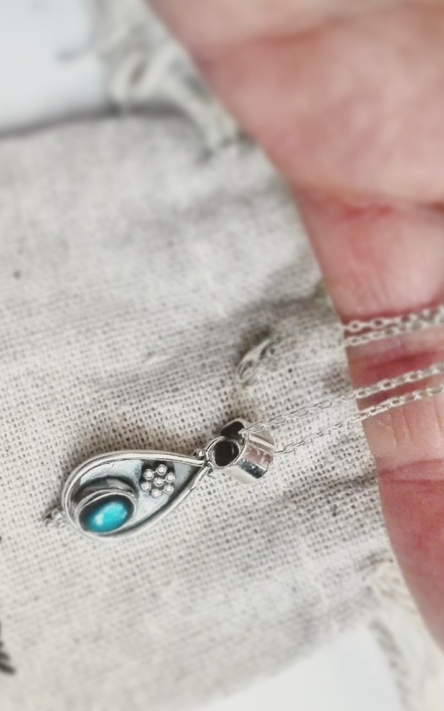 Labradorite Teardrop Sterling Silver Necklace by Wanderdusk